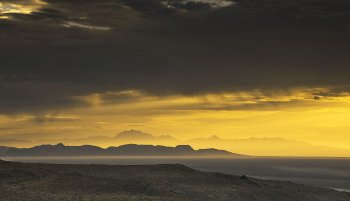 dawn, sunup, Black Rock, King Lear Peak,  storm clouds,  Burning Man