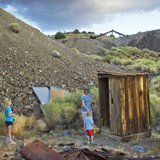 Outhouse in Berlin Ichthyosaur state park Nevada Great Basin