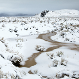 Towards Pyramid Lake in winter snow Nevada Great Basin
